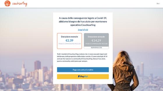 donazione a pagamento sito di couchsurfing scambio divani viaggiatori